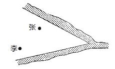 """近年来,国家实施""""村村通""""工程和农村医疗卫生改革,某县计划在张村、李村之间建一座定点医疗站P,张、李两村座落在两相交公路内(如图所示).医疗站必须满足下列条件:①使其到两公路距离相等;②到张、李两村的距离也相等.请你通过作图确定P点的位置."""