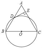 如图,在△ABC中,BC=AC=6,以BC为直径的⊙O与边AB相交于点D,DE⊥AC,垂足为点E. (1)求证:点D是AB的中点; (2)求点O到直线DE的距离.