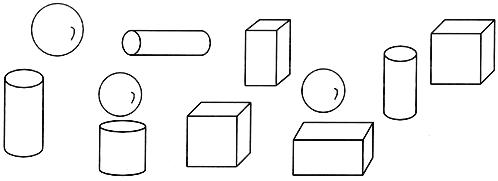 认一认。 正方体有(______)个 长方体有(______)个 圆柱有(_____)个 球有(______)个