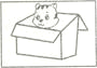 根据句意和首字母或图片提示写单词。每空一词。 1. The cat is ________ the box. 2. The toy car is on the s________. 3. The books are f________. Who can hel