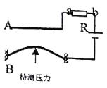 测定压力变化的电容式传感器如图所示,A为固定电极,B为可动电极,组成一个电容大小可变的电容器。可动电极两端固定,当待测压力施加在可动电极上时,可动电极发生形变,从而改变了电容器的电容。现将此电容式传感器连接到如图所示的电路中,则( ) A.当待测压力增大时电容
